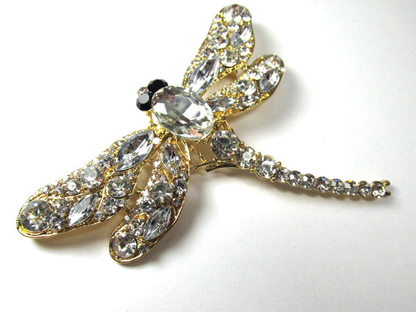 Clear Large Dragonfly Brooch in Gold with Black Eyes-Brooch-Odyssey Cache