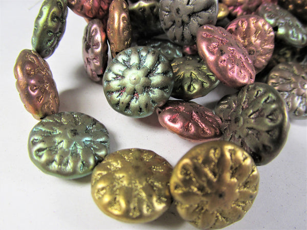 10 Metallic Mix Czech Glass 14mm  Dahlia Flower Jewelry Beads - Odyssey Cache