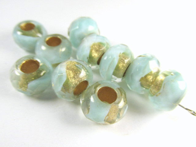 Aqua Mint Gold Czech Large Hole 9mm x 6mm Roller Beads (10 beads) - Odyssey Cache