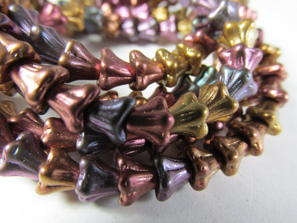 Metallic Bead Mix Czech Glass 6mm x 5mm Baby Bell Flower Beads (30) - Odyssey Cache