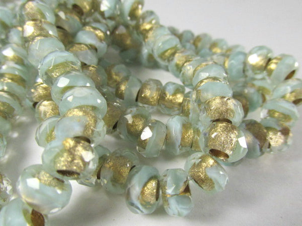 Aqua Mint Gold Czech Large Hole 9mm x 6mm Roller Beads-Jewelry Beads-10 beads-Odyssey Cache