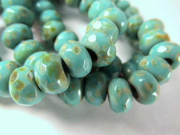 Turquoise Picasso Czech Large Hole 9mm x 6mm Roller Beads - Odyssey Cache - 1