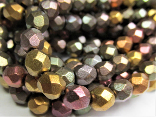 Metallic Mix 6mm Czech Glass Fire Polished Faceted Jewelry Beads - Odyssey Cache