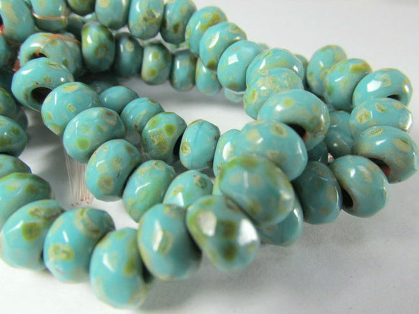 Turquoise Picasso Czech Large Hole 9mm x 6mm Roller Beads - Odyssey Cache - 3