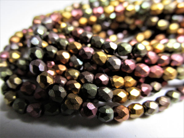 Metallic Mix 3mm Czech Glass Fire Polished Faceted Jewelry Beads - Odyssey Cache
