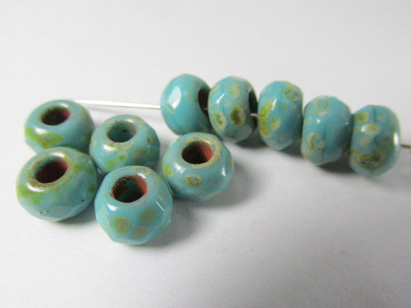 Turquoise Picasso Czech Large Hole 9mm x 6mm Roller Beads-Jewelry Beads-Odyssey Cache