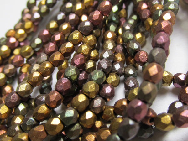 Metallic Mix 3mm Czech Glass 3mm Fire Polished Faceted Jewelry Beads-Jewelry Beads-Odyssey Cache