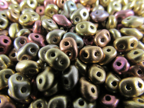 Metallic Mix Czech Glass 2.5 x 5mm Superduos (10 grams)-Jewelry Beads-Odyssey Cache