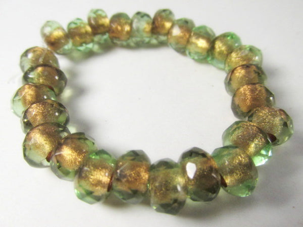 Green Brown Czech Glass 9x6mm Faceted Rondelle 5mm Large Hole Roller Beads - Odyssey Cache - 7