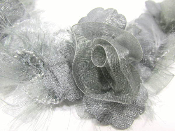 Gray Ruffled Rose Craft or Bridal Flower Trim-Trims-Odyssey Cache