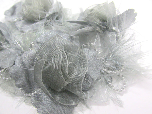 Gray Ruffled Rose Craft or Bridal Flower Trim-Trims-1 flower-Odyssey Cache