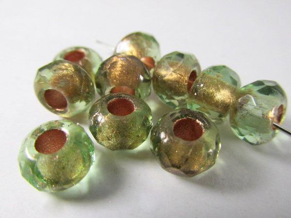 Green Brown Czech Glass 9x6mm Faceted Rondelle 5mm Large Hole Roller Beads - Odyssey Cache - 1