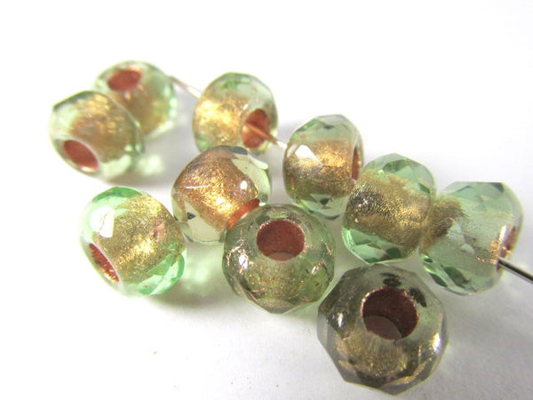 Green Brown Czech Glass 9x6mm Faceted Rondelle 5mm Large Hole Roller Beads-Czech Glass-10 beads-Odyssey Cache