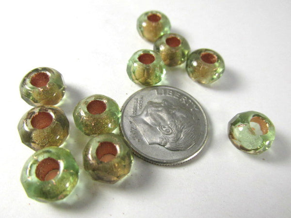 Green Brown Czech Glass 9x6mm Faceted Rondelle 5mm Large Hole Roller Beads - Odyssey Cache - 6