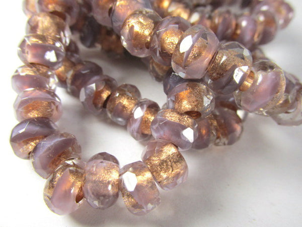 Lavender Copper Rose Gold Czech Glass 9x6mm Faceted Rondelle 3mm Large Hole Roller Beads - Odyssey Cache