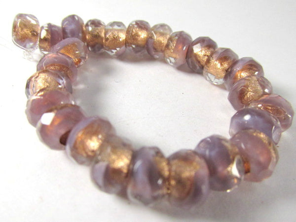 Lavender Copper Rose Gold Czech Glass 9x6mm Faceted Rondelle 3mm Large Hole Roller Beads-Jewelry Beads-Odyssey Cache