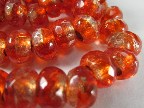 Red Orange Czech Glass 12mm x 8mm Faceted Rondelle 5mm Large Hole Roller Beads - Odyssey Cache - 7