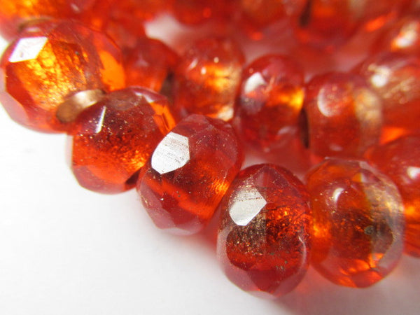 Red Orange Czech Glass 12mm x 8mm Faceted Rondelle 5mm Large Hole Roller Beads - Odyssey Cache - 2
