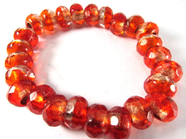 Red Orange Czech Glass 12mm x 8mm Faceted Rondelle 5mm Large Hole Roller Beads - Odyssey Cache