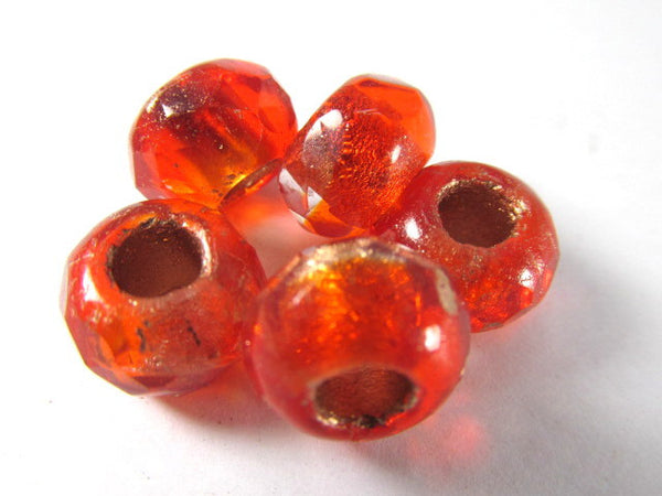 Red Orange Czech Glass 12mm x 8mm Faceted Rondelle 5mm Large Hole Roller Beads-Jewelry Beads-5 beads-Odyssey Cache