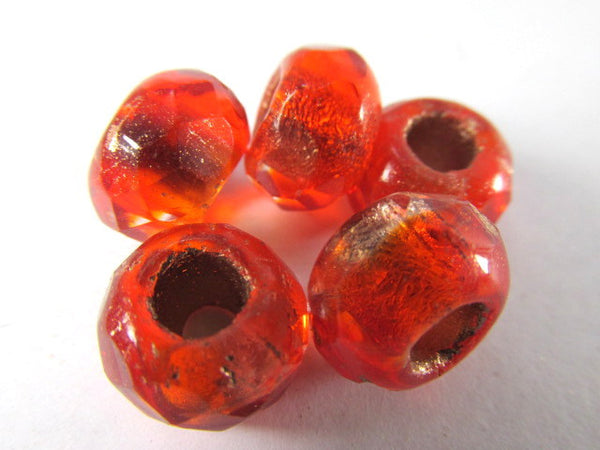 Red Orange Czech Glass 12mm x 8mm Faceted Rondelle 5mm Large Hole Roller Beads - Odyssey Cache - 3