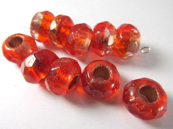 Red Orange Czech Glass 12mm x 8mm Faceted Rondelle 5mm Large Hole Roller Beads - Odyssey Cache - 4