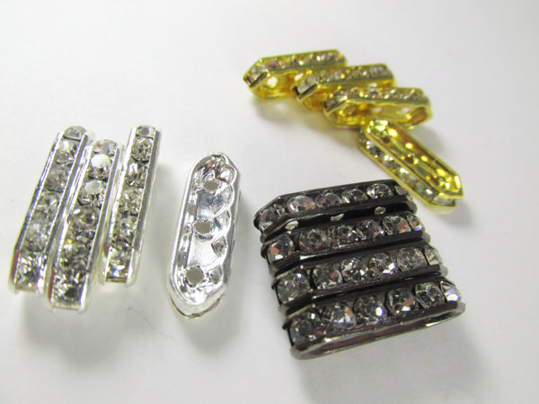 Silver, Gold or Gunmetal Long 3-Hole Crystal Spacer Metal Jewelry Beads (6)-Jewelry Beads-Odyssey Cache