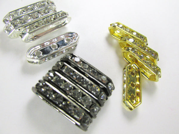 Silver, Gold or Gunmetal Long 3-Hole Crystal Spacer Metal Jewelry Beads (6) - Odyssey Cache