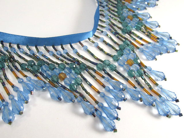 Mermaid Blue and Green Teal with Brown 4 Inch Long Beaded Fringe-Beaded Fringe-1/2 Yard-Odyssey Cache