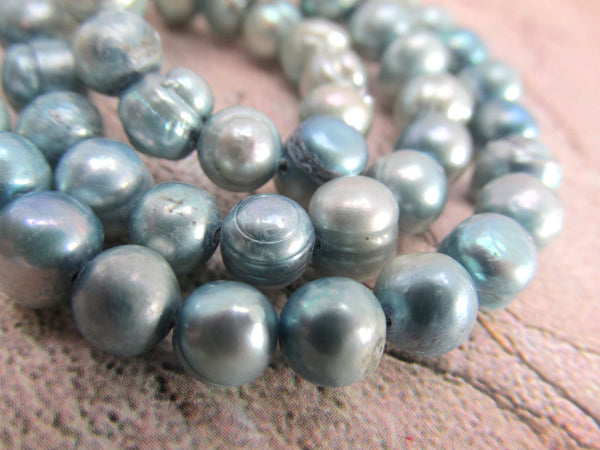 Light Baby Blue Denim Gray 6-7mm Potato Freshwater Pearls-Jewelry Beads-Odyssey Cache