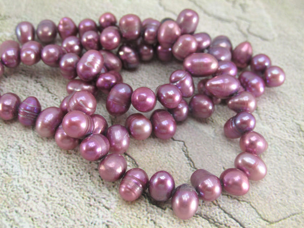 14.5 Inch Strand of Fuchsia Orchid Plum 7mm Cross Drilled Potato Freshwater Pearls-Jewelry Beads-Odyssey Cache
