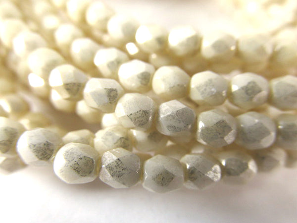 Beige Luster 4mm Fire Polished Czech Glass Jewelry Beads-Czech Glass-Odyssey Cache