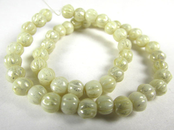 Ivory Mercury Finish 4mm Fluted Round Melon Czech Glass Jewelry Beads-Czech Glass-Odyssey Cache