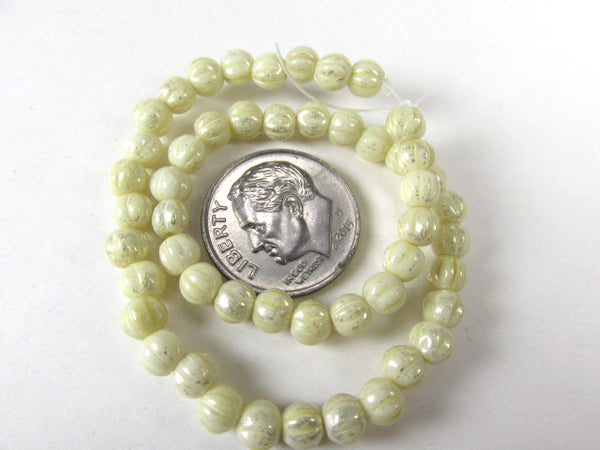 Ivory Mercury Finish 4mm Fluted Round Melon Czech Glass Jewelry Beads - Odyssey Cache