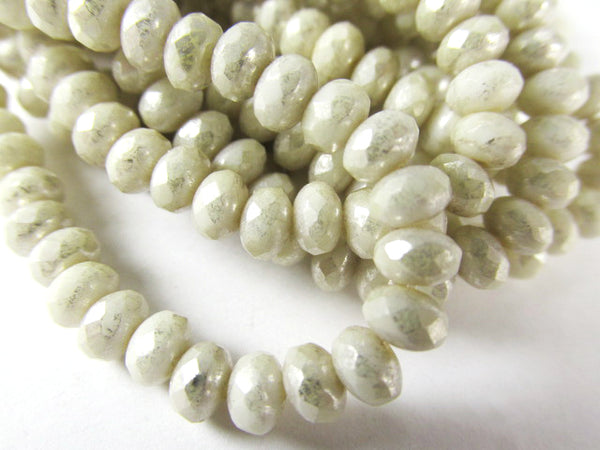 Ivory Mercury Czech Glass 5mm x 3mm Faceted Rondelle Jewelry Beads - strand of 30 beads-Jewelry Beads-Odyssey Cache