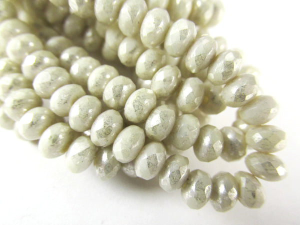 Ivory Mercury Czech Glass 5mm x 3mm Faceted Rondelle Jewelry Beads - strand of 30 beads - Odyssey Cache