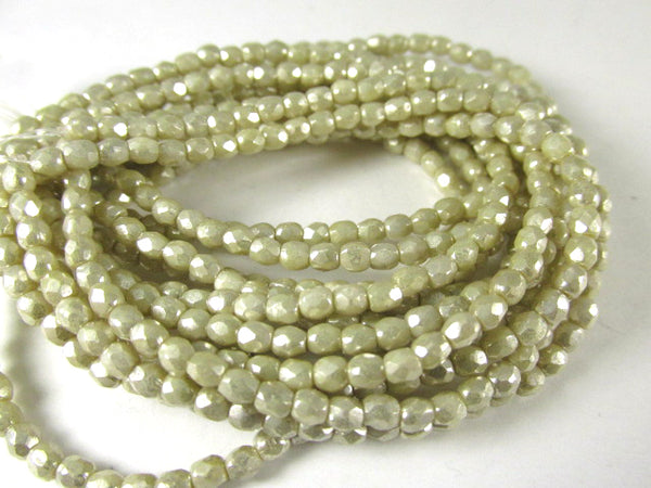 Ivory Mercury Finish 3mm Fire Polished Czech Glass Jewelry Beads - Odyssey Cache