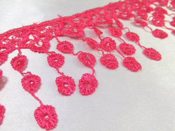 Hot Pink 3.5 inch Venise Fringed Lace Trim-Trims-Odyssey Cache
