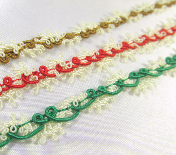 Red, Emerald Green or Light Brown and Ivory Buttercream Lacy Picot Narrow Gimp Trim - Odyssey Cache