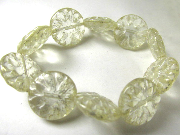 Transparent Ivory Mercury Czech Glass 14mm Dahlia Flower Jewelry Beads (5) - Odyssey Cache