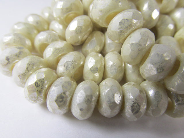 Ivory Mercury Czech Glass Roller 9mm x 6mm Faceted Rondelle Jewelry Beads (10) - Odyssey Cache