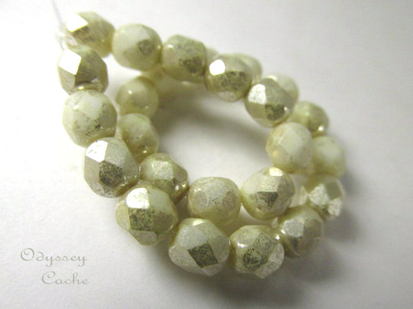 Beige Silver Mercury Finish 6mm Fire Polished Czech Glass Jewelry Beads-Czech Glass-Odyssey Cache