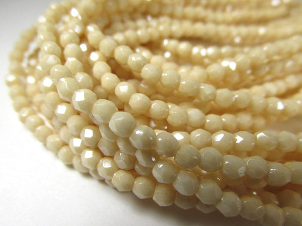 Opaque Luster Champagne Czech Glass 3mm Fire Polished Jewelry Beads (50) - Odyssey Cache
