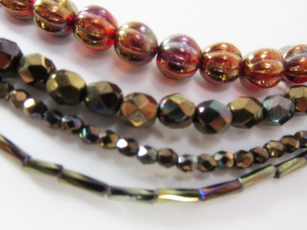 Siam Ruby Bronze Vega Czech Glass 8mm Fire Polished Fluted Melon Jewelry Beads - Odyssey Cache