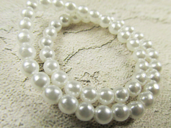 Czech Glass 4mm White Pearl Round Druks - 50 jewelry beads - Odyssey Cache