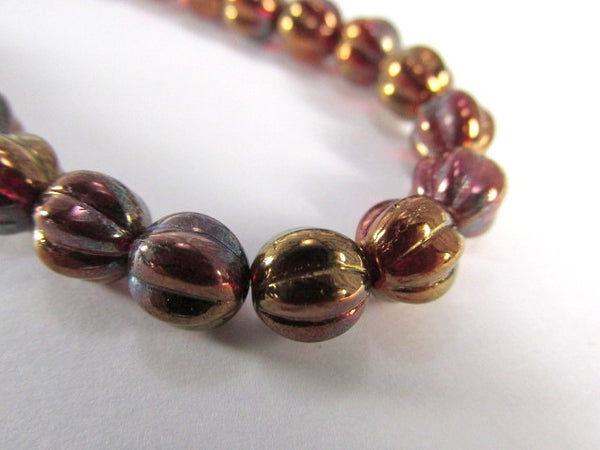 Siam Ruby Bronze Vega Czech Glass 8mm Fire Polished Fluted Melon Jewelry Beads-Jewelry Beads-Odyssey Cache