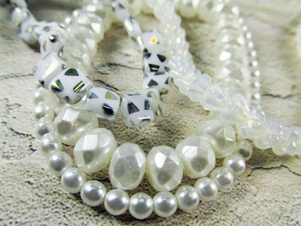 Milky White Luster Iris Czech Glass 6mm x 4mm Czech Glass Baby Bell Jewelry Beads - Odyssey Cache