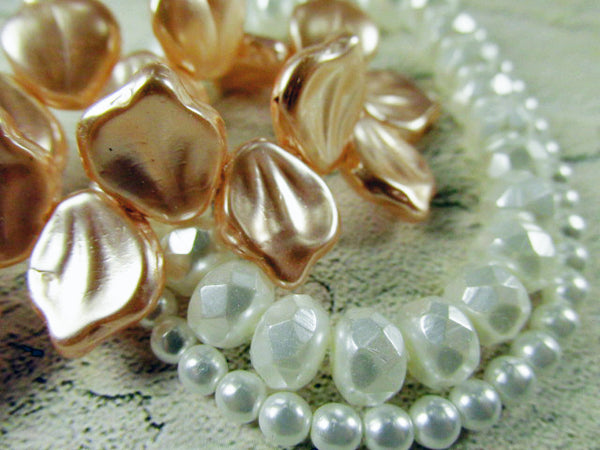 White Pearl Czech Glass 8mm x 6mm Faceted Rondelles -10 jewelry beads - Odyssey Cache