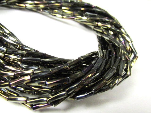 Brown Iris 6mm x 2mm Czech Twisted Glass Bugle Beads - 8 grams - Odyssey Cache