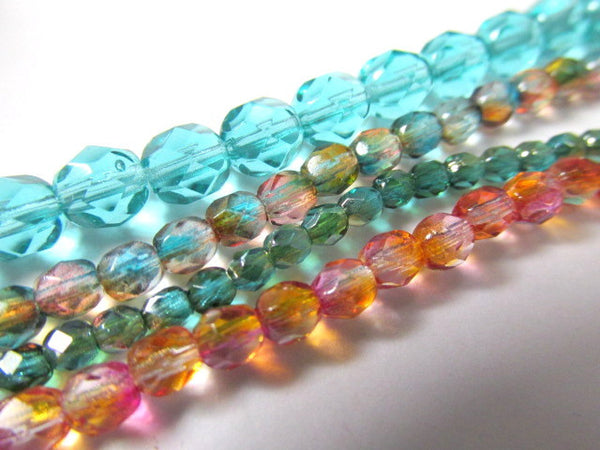 Light Teal 6mm Czech Glass Fire Polished Jewelry Beads (50) - Odyssey Cache